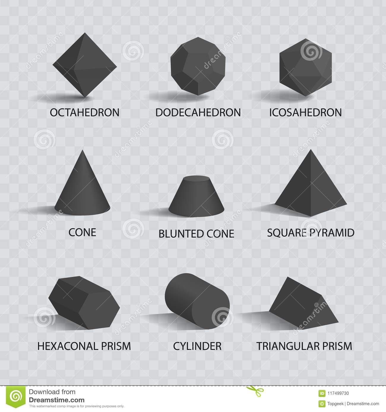octahedron and dodecahedron vector illustration stock vector