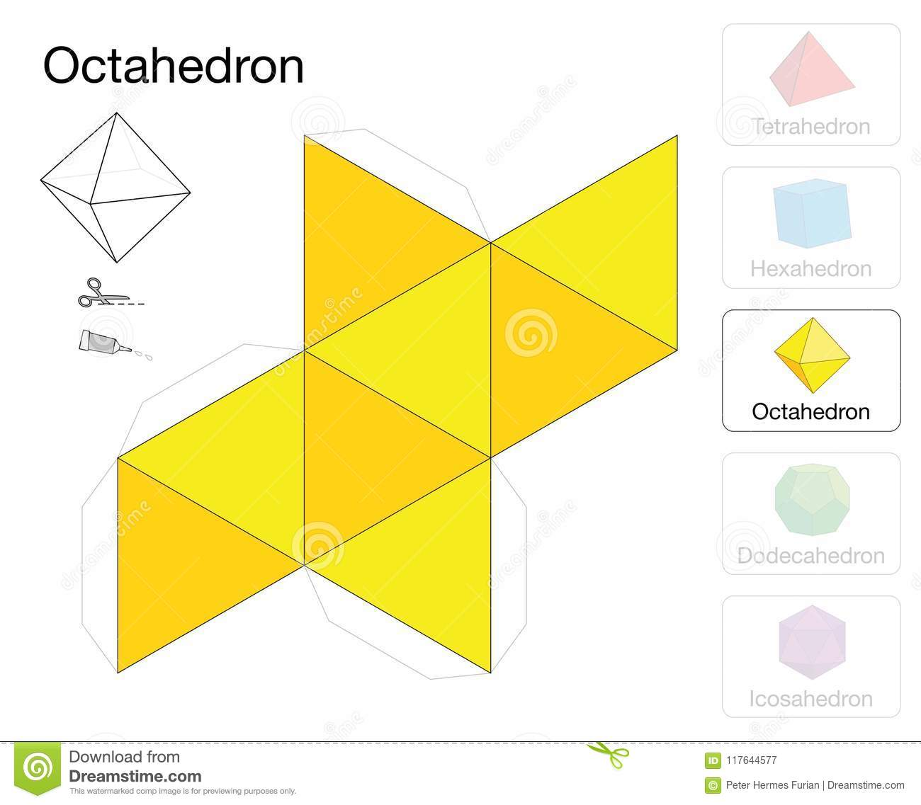 Octahedron Platonic Solid Template Paper Model Stock Vector