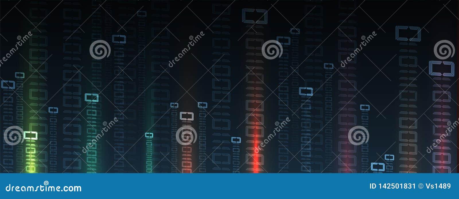 Octets de course de code binaire par le réseau Syberspace futuriste abstrait de technologie