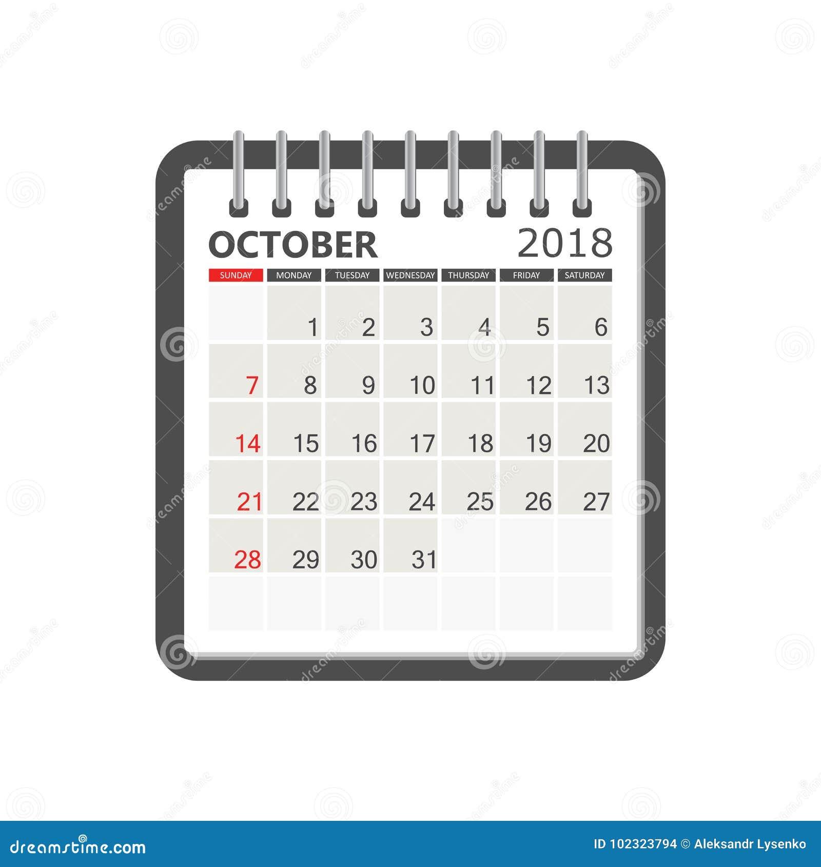 october 2018 calendar calendar notebook page template week sta