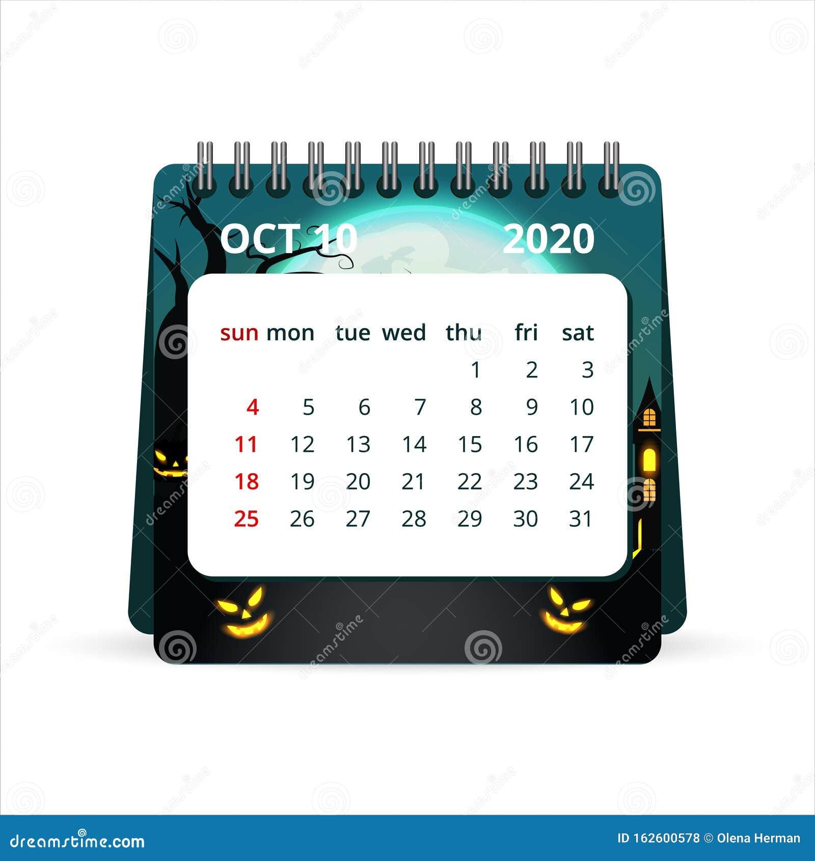 Halloween Template 2020 October 2020 Calendar With Halloween Background. Vector