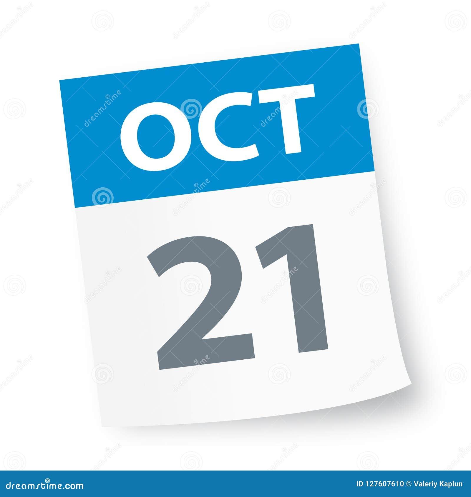 Oct 21 2020 Calendar October 21   Calendar Icon stock illustration. Illustration of