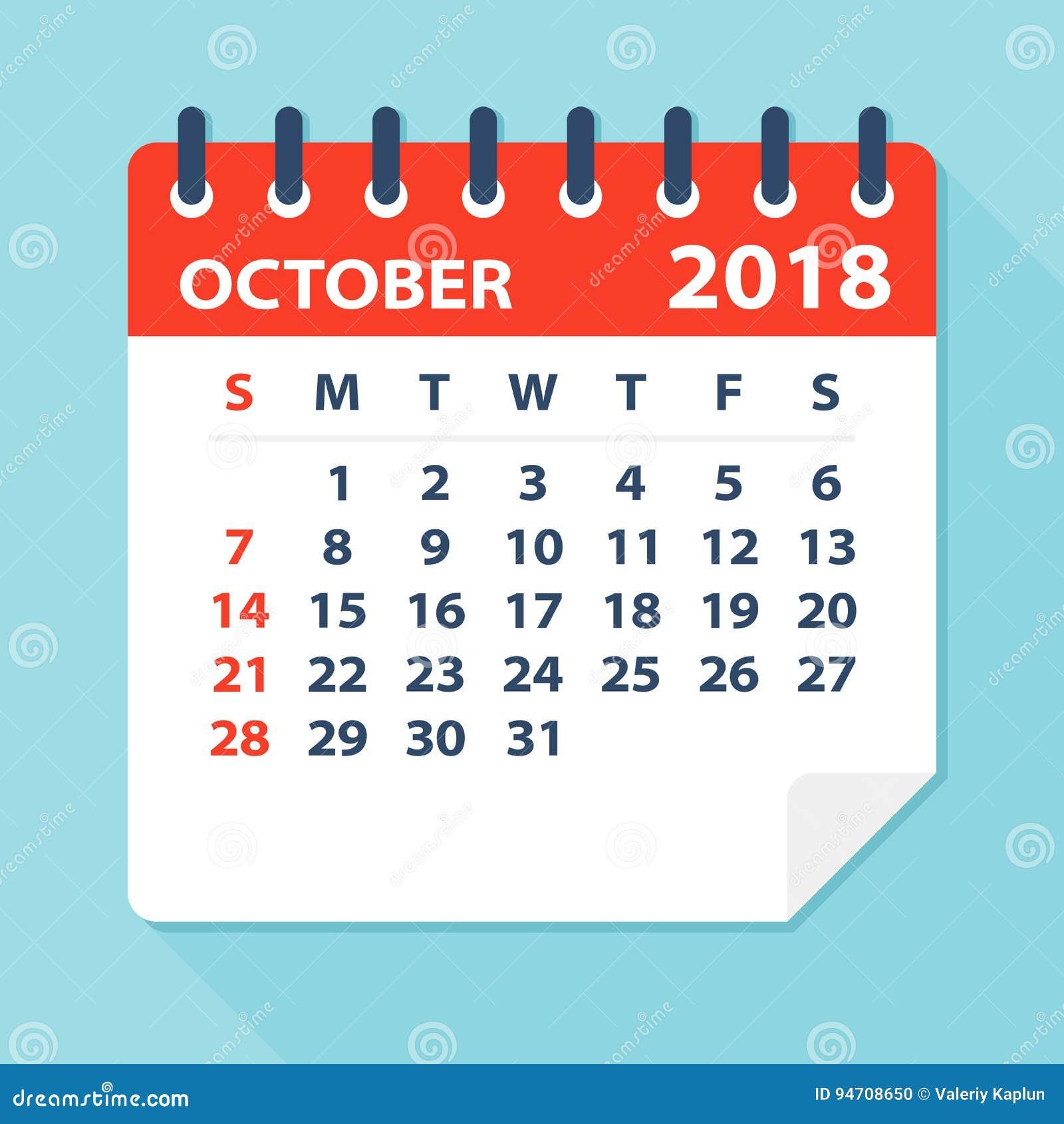 october 2018 calendar leaf illustration
