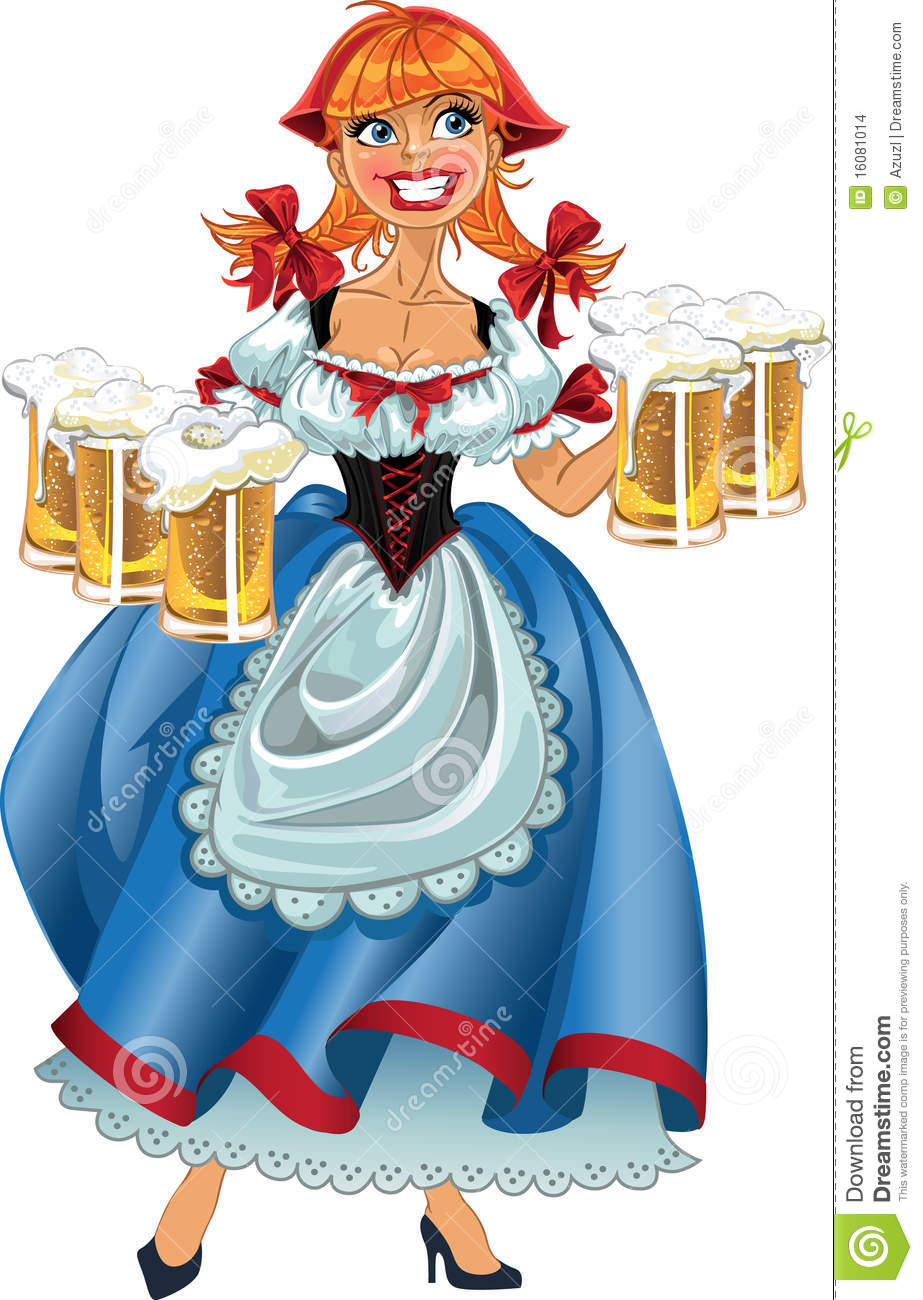 october fest girl with beer stock vector