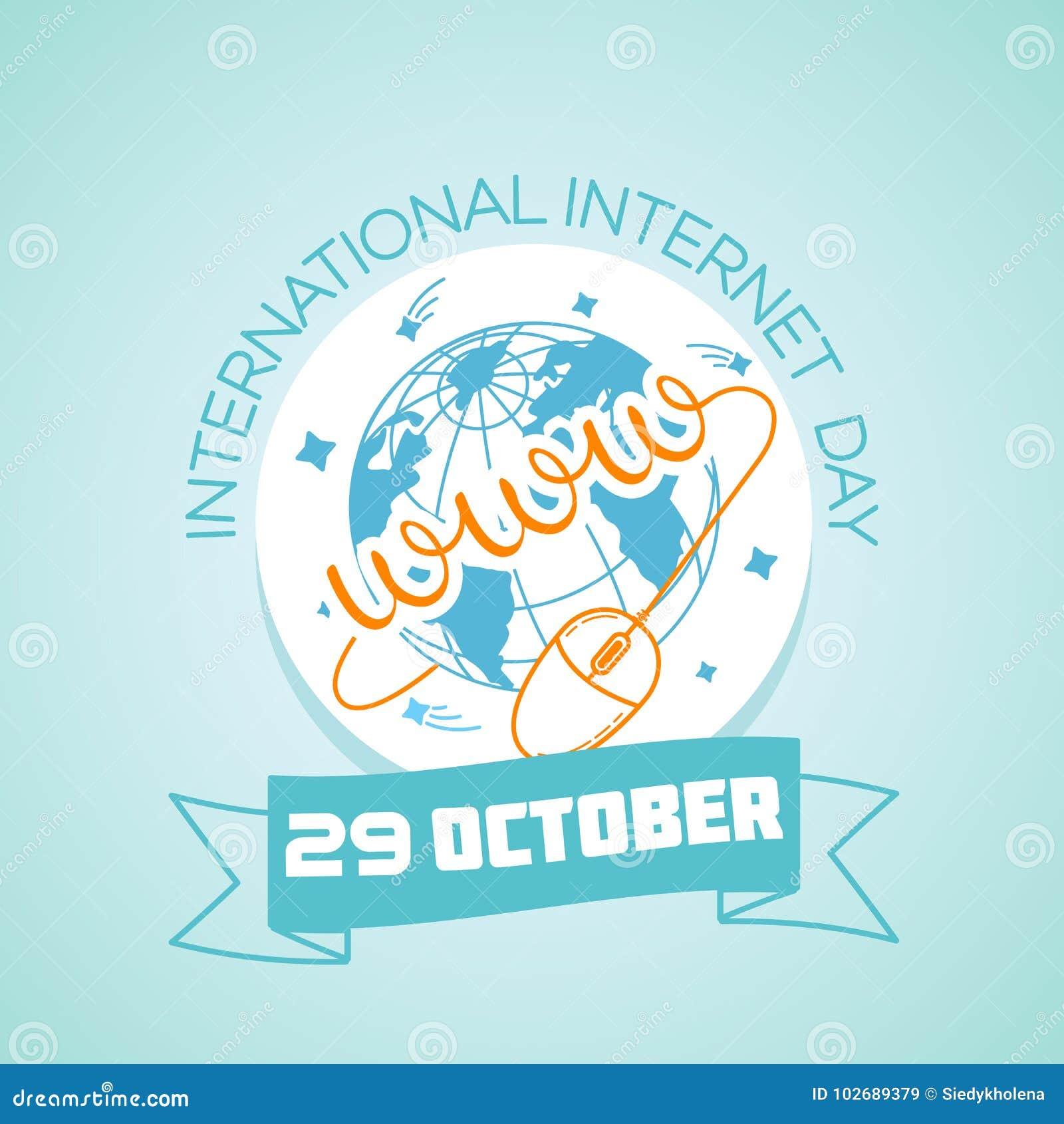 29 October International Internet Day Stock Illustration