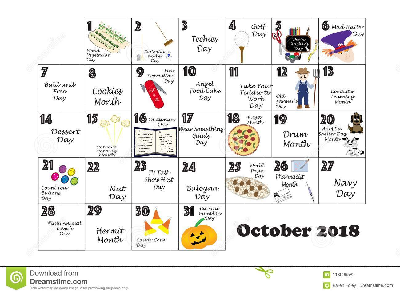 October Calendar Illustration : October quirky holidays and unusual events stock