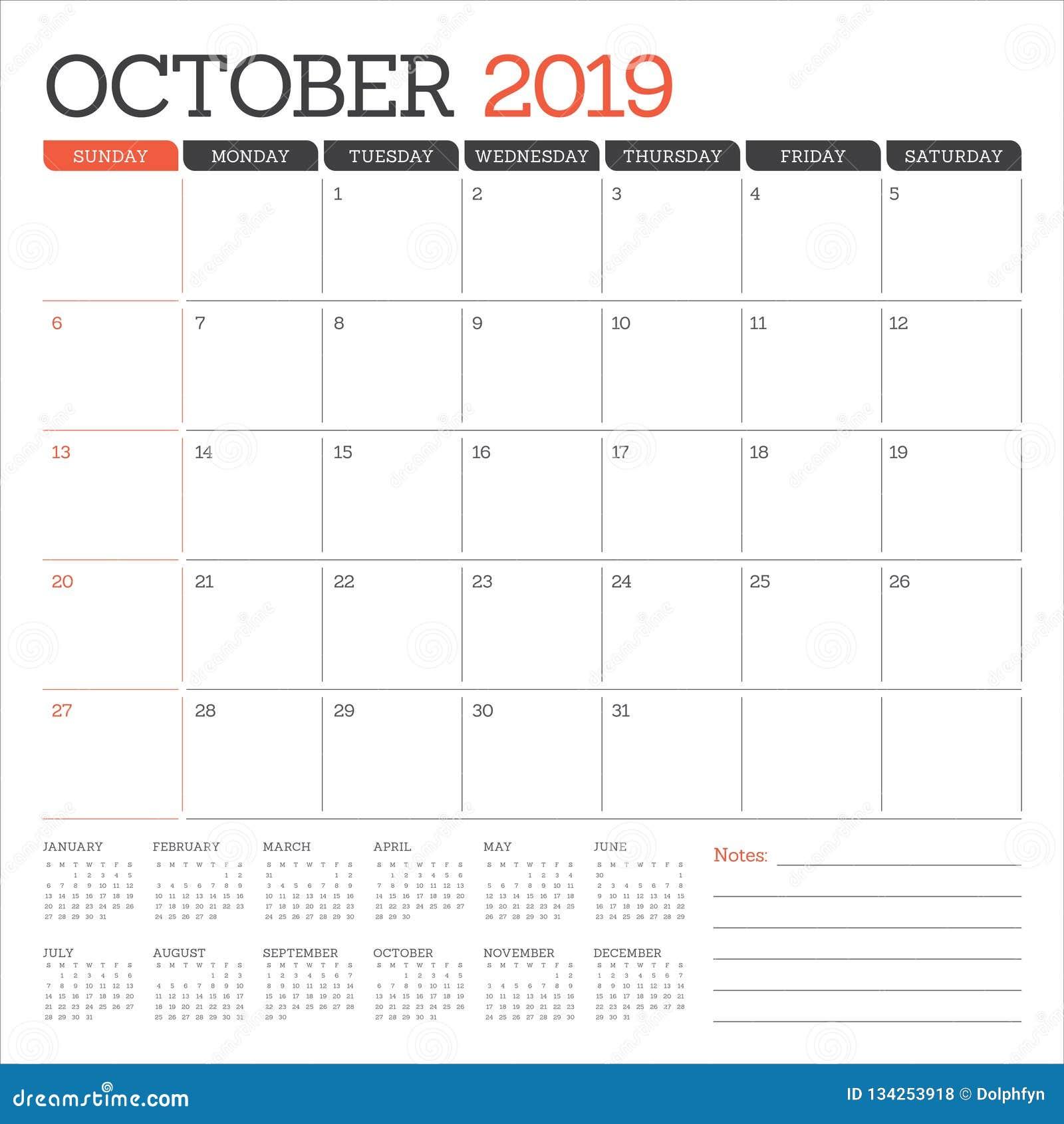 October 2019 Monthly Calendar Vector Illustration Stock