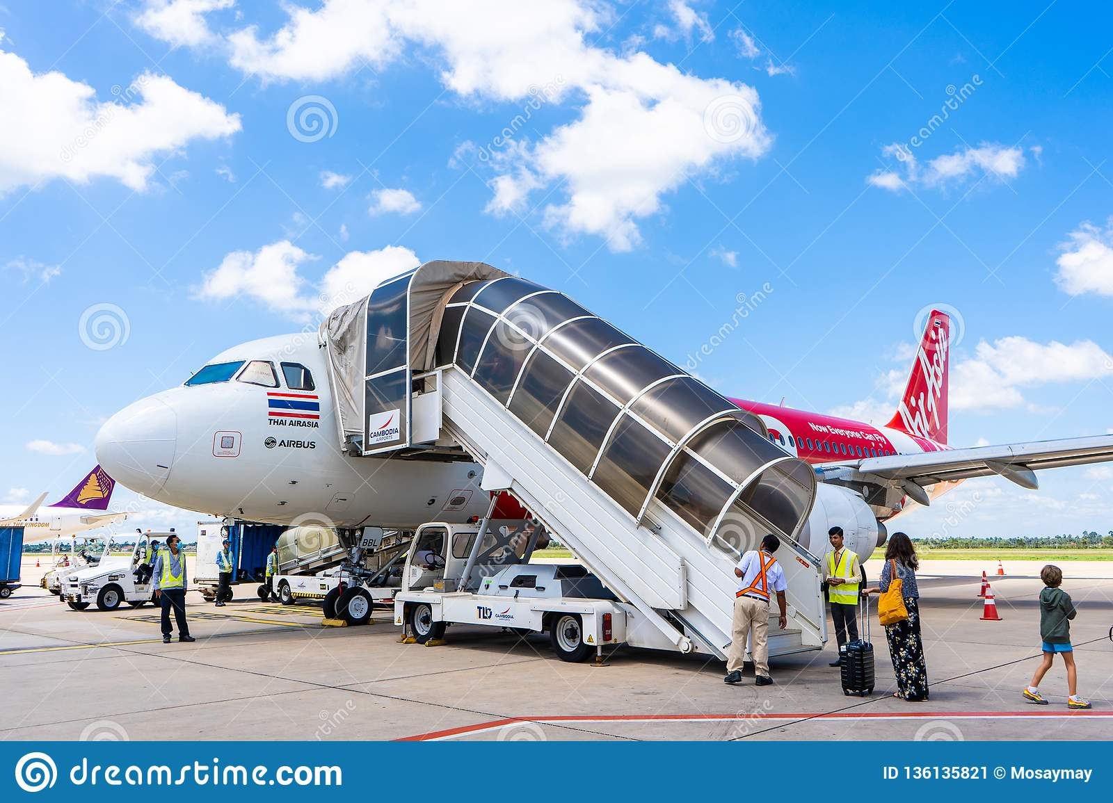 25 october 2018-siem reap::airplane prepare to fly at airport