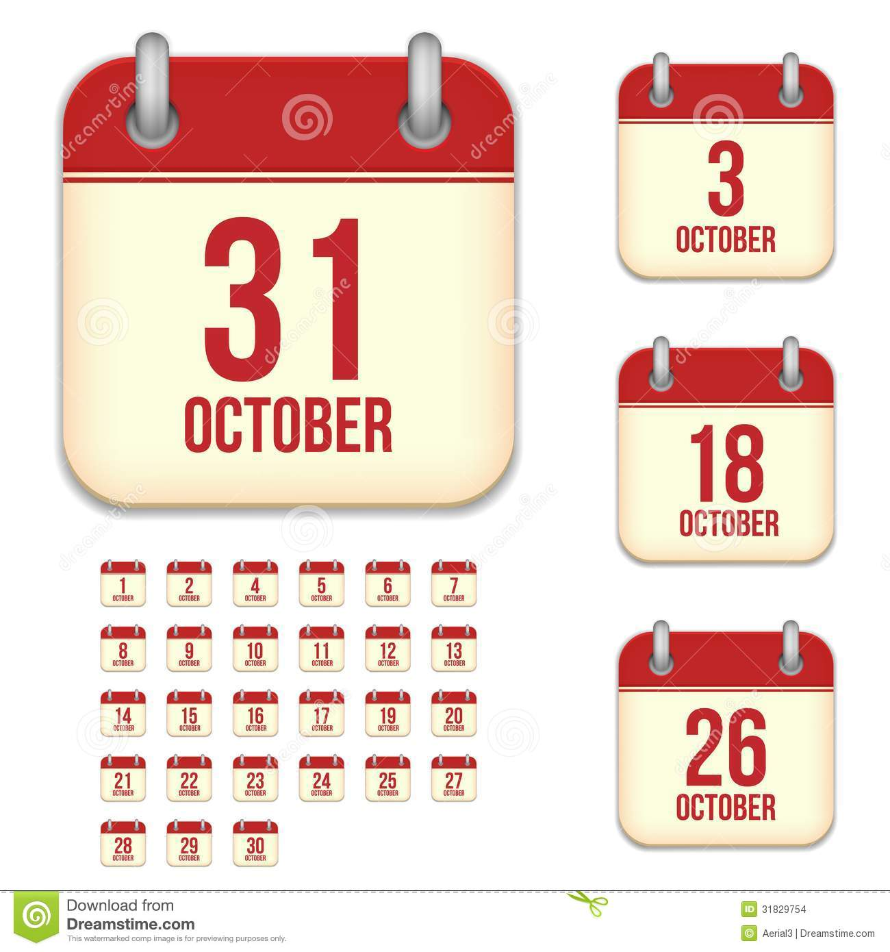 October Vector Calendar Icons Stock Vector - Illustration of icons