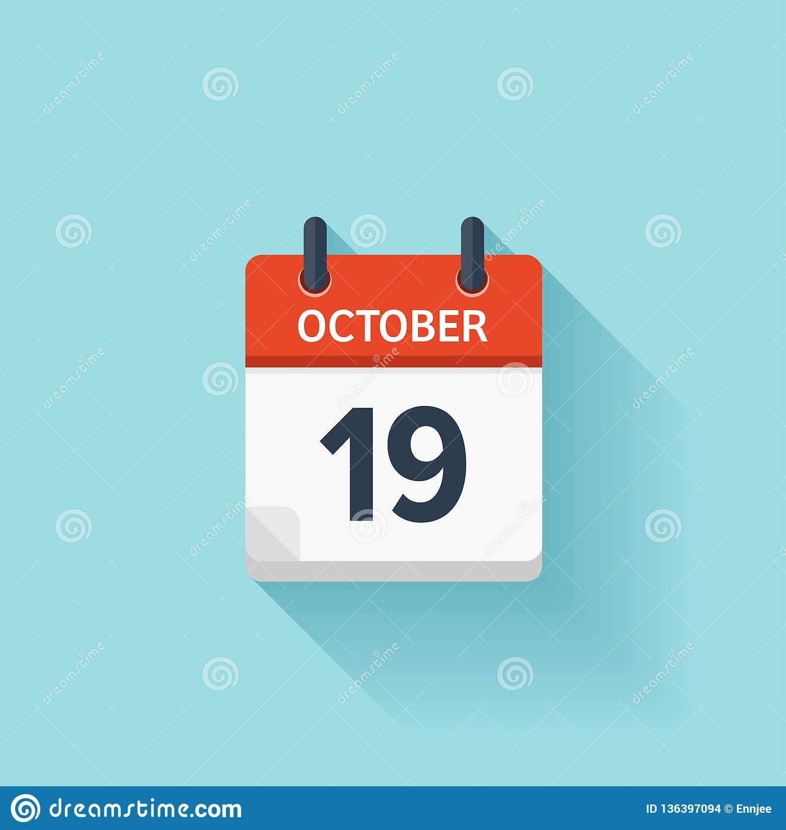 Daily Holiday Calendar.October 19 Vector Flat Daily Calendar Icon Date And Time Day
