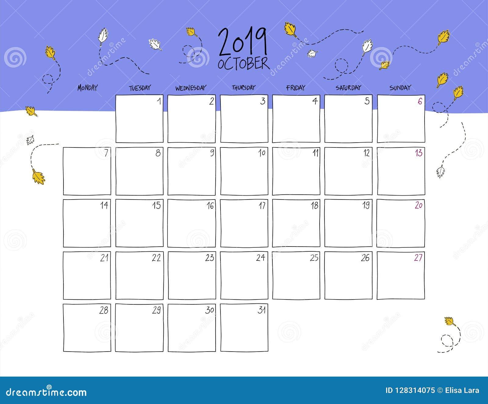 October Calendar 2019.October 2019 Wall Calendar Doodle Style Stock Vector