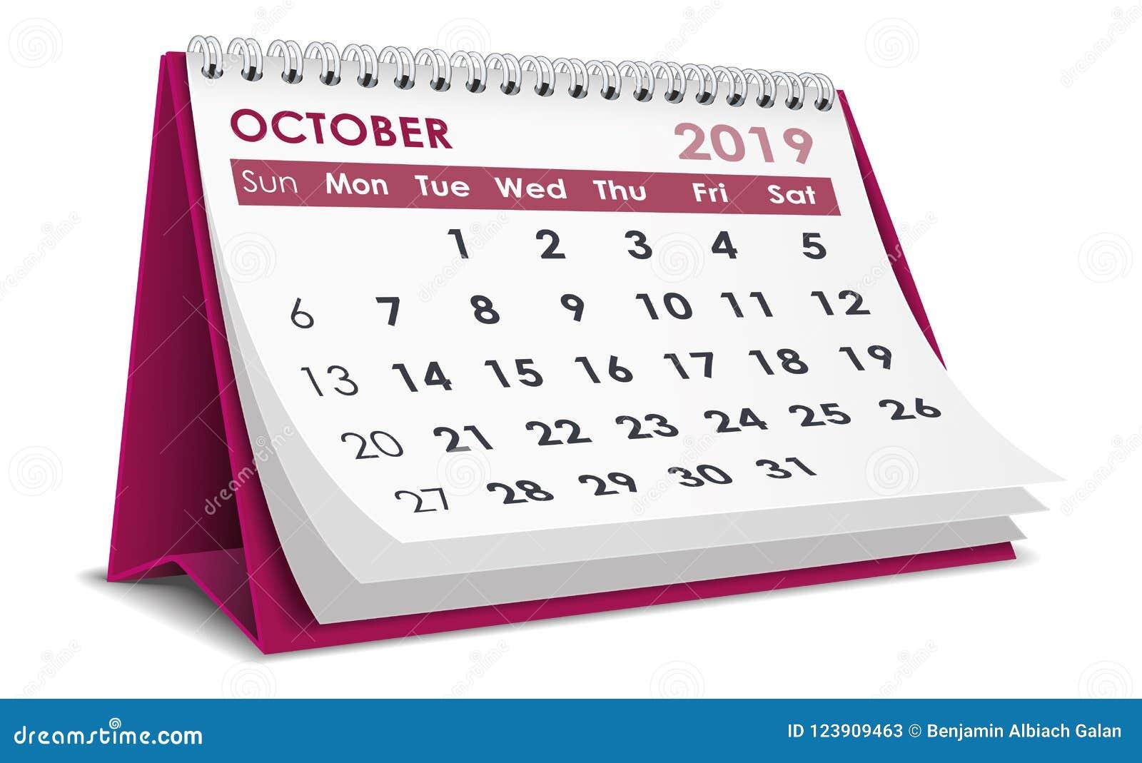 Octobre Calendrier 2019.Octobre 2019 Calendrier Illustration De Vecteur