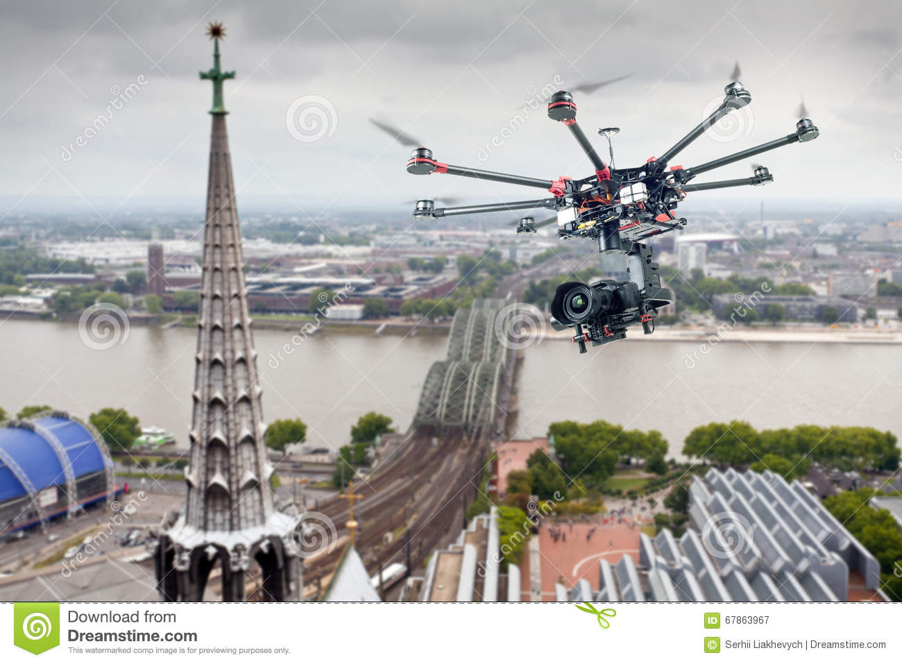 Octocopter, copter, drone stock image  Image of multicopter