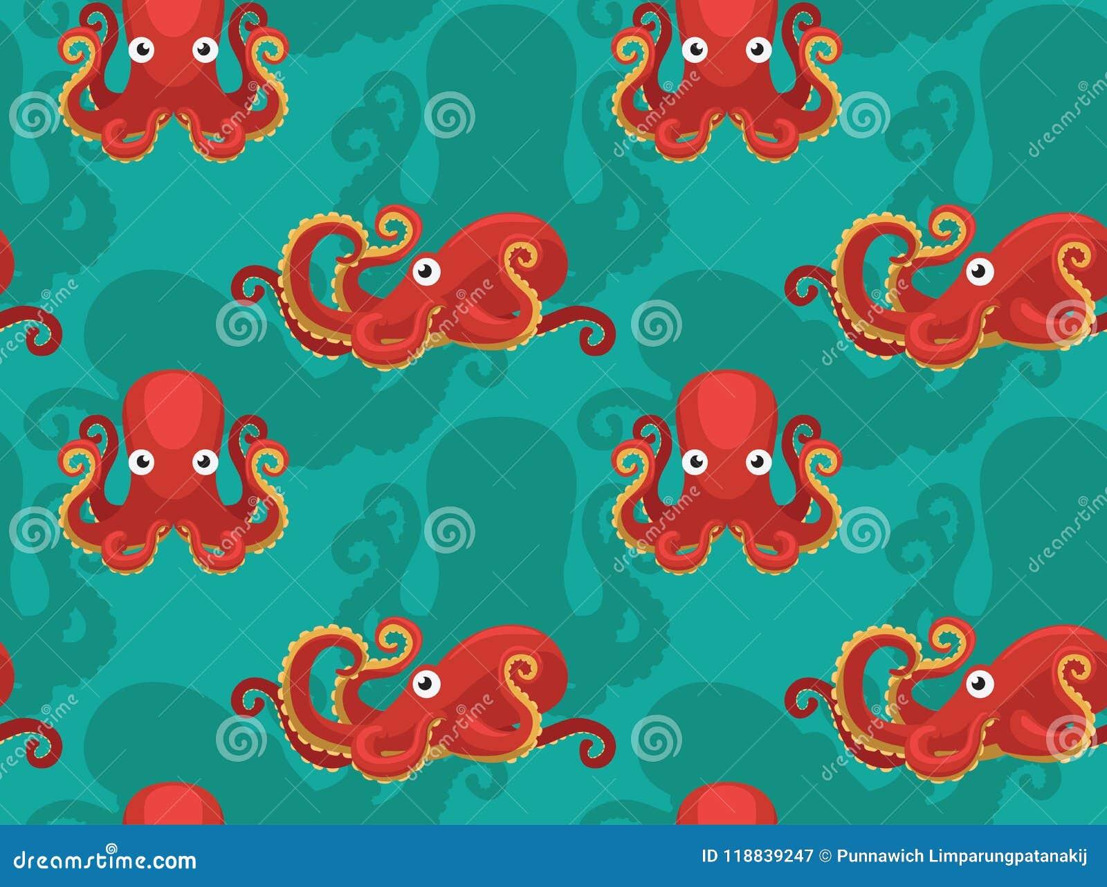 Octopus Cartoon Cute Background Seamless Wallpaper Stock
