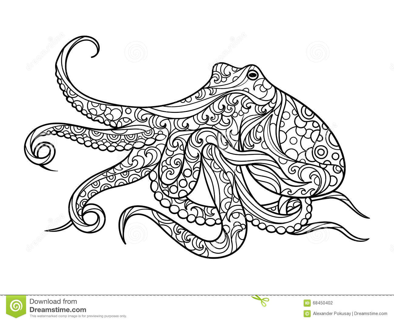Octopus Coloring Book For Adults Vector