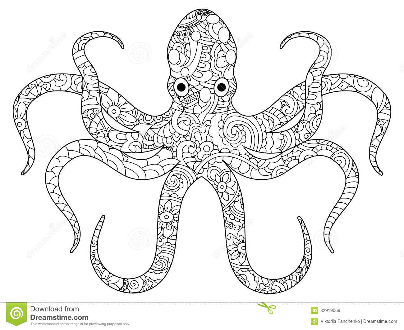 Realistic octopus coloring page - digitalspace.info