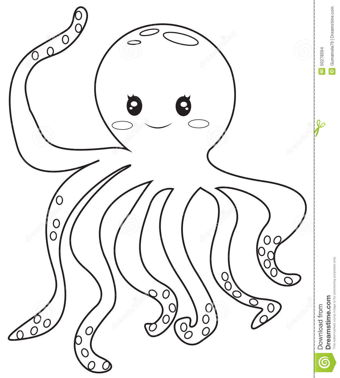 Octopus coloring page stock illustration. Illustration of elements ...