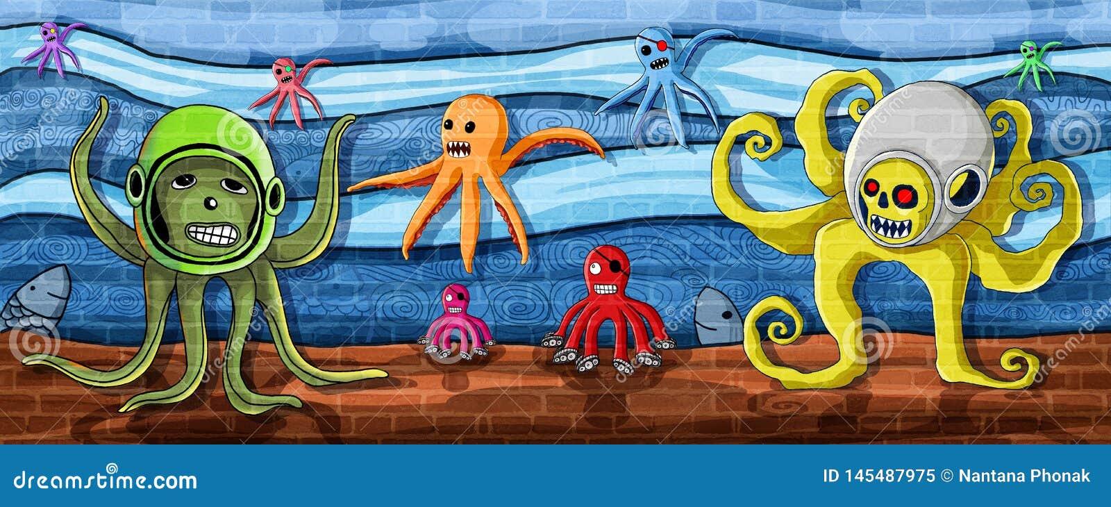 Octopus in de zeedijkverf