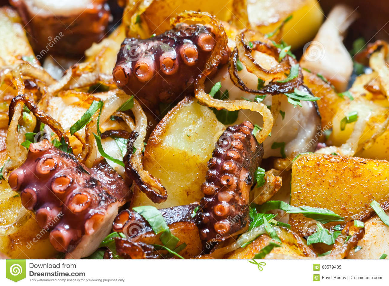 Fried Galician Macro Octopus Onions Potatoes