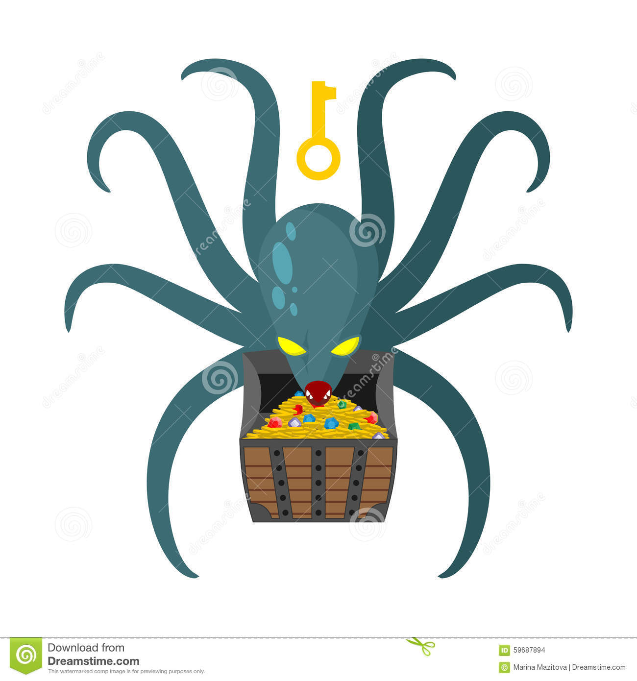 Octopus Guarding Pirate Treasures Gold Chest Kraken Cthulhu A
