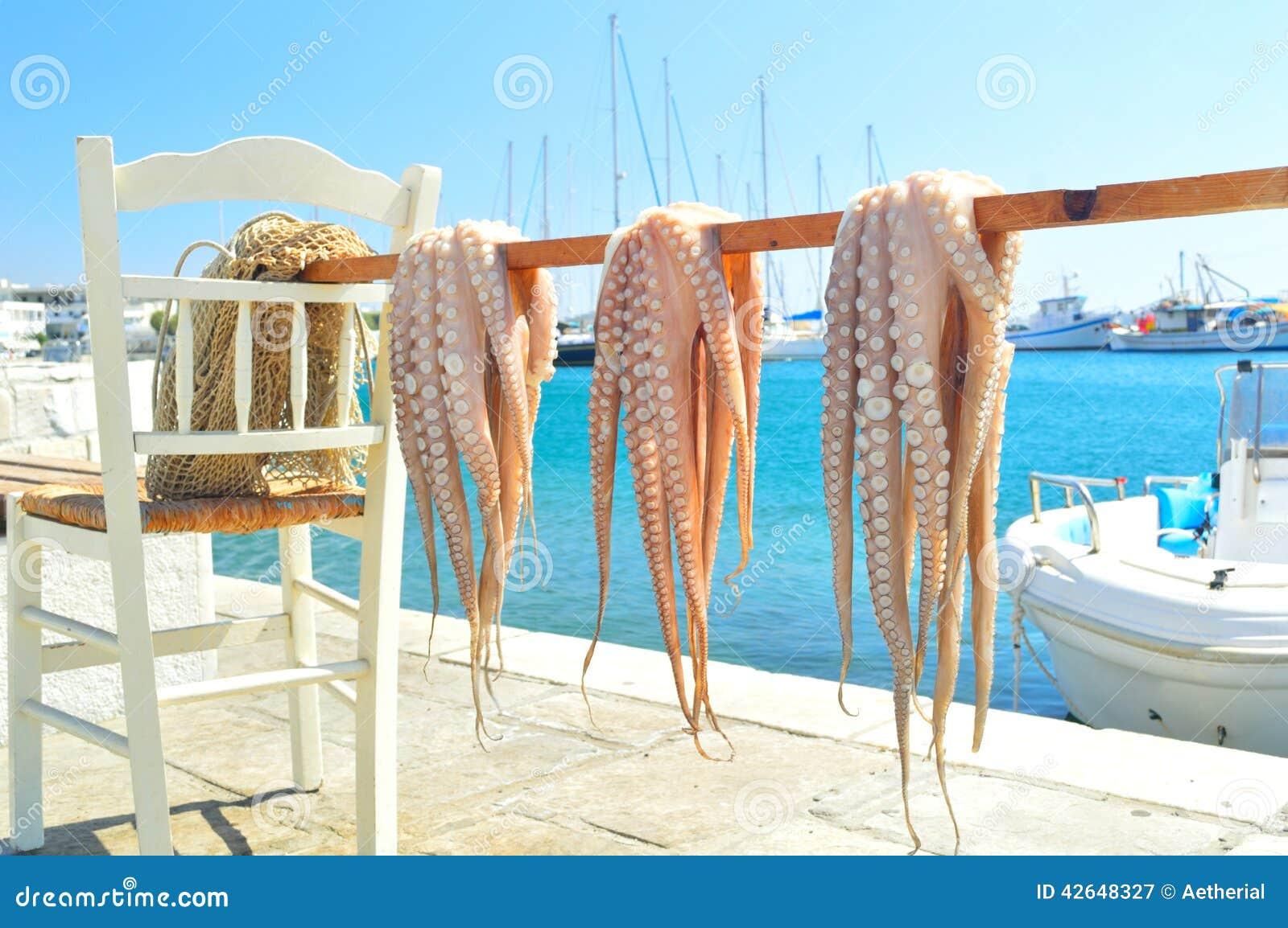 Octopus het drogen in de zon naxos eiland cycladen griekenland stock foto afbeelding 42648327 - Eiland maaltijd ...