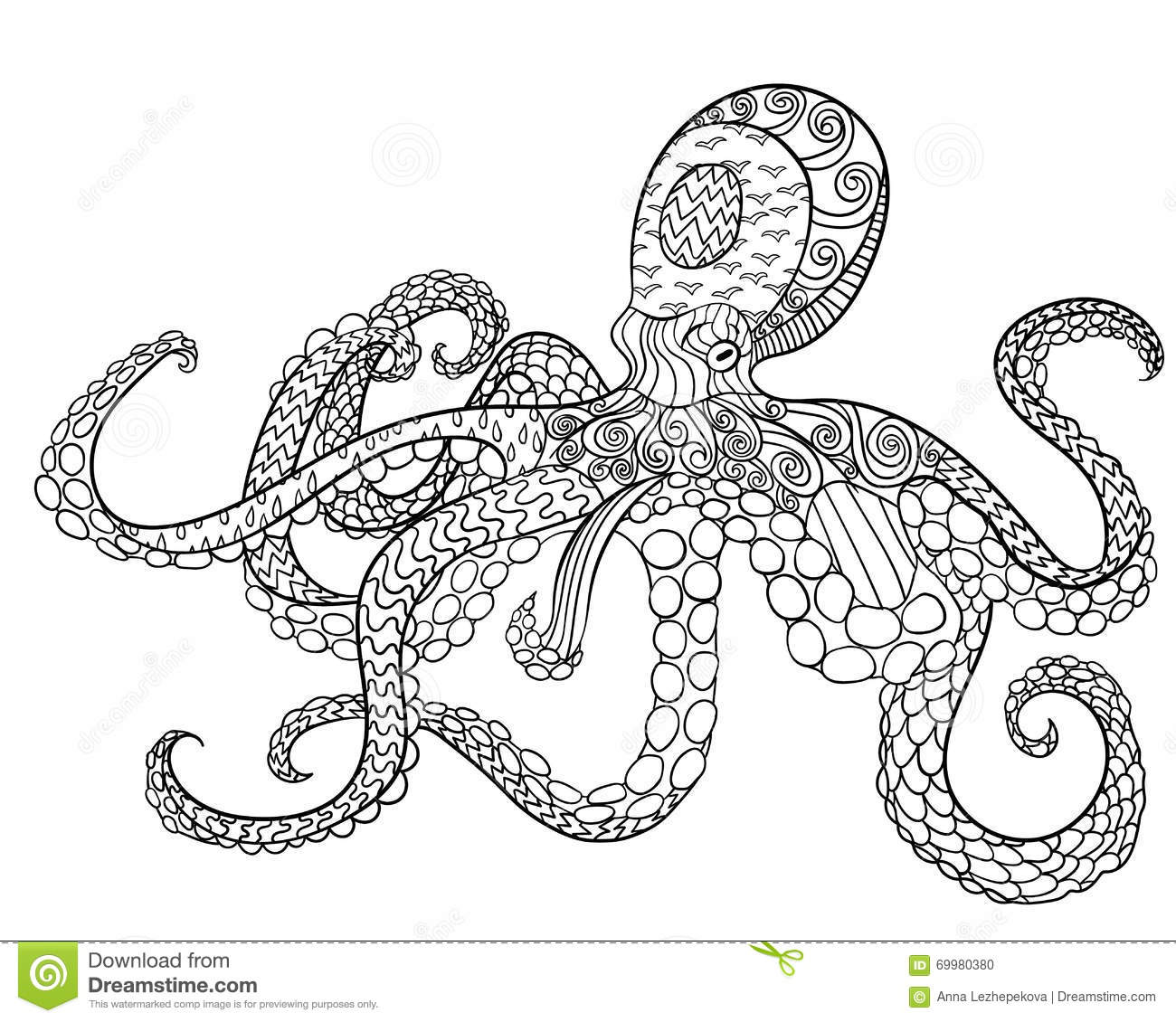 Scribble Drawing In Art Therapy : Octopus with high details stock vector illustration of