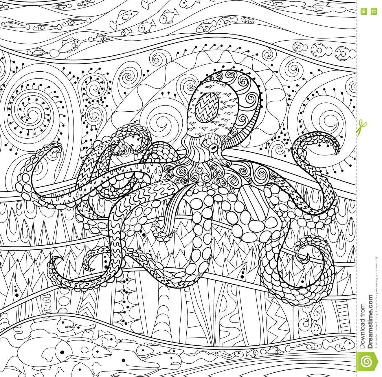 Octopus With High Details Stock Vector