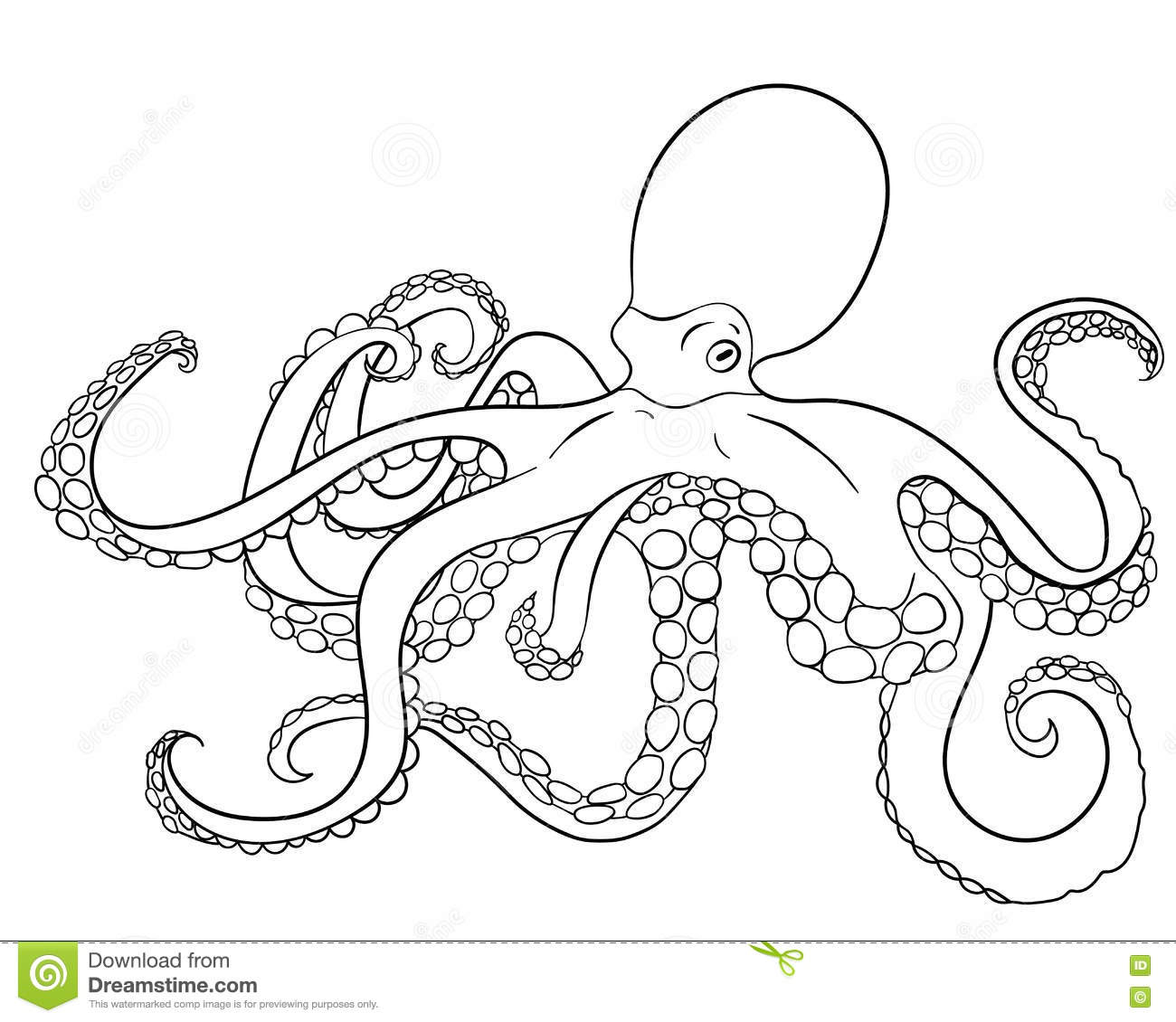 octopus with high details stock vector image 73355960
