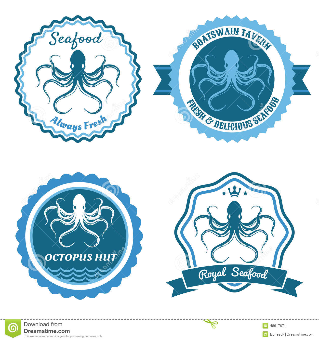 Octopus Sea Food Logo Or Badge Set Stock Vector - Image: 48617671