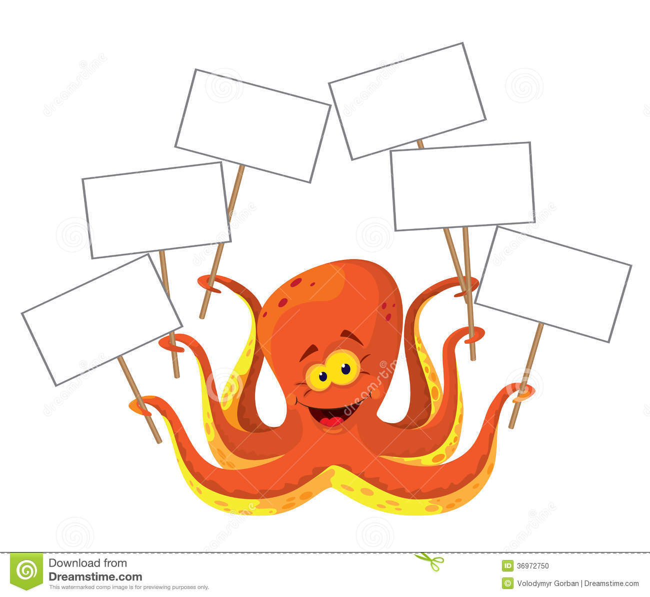 Octopus with a sign stock vector illustration of ocean 36972750 royalty free stock photo pooptronica