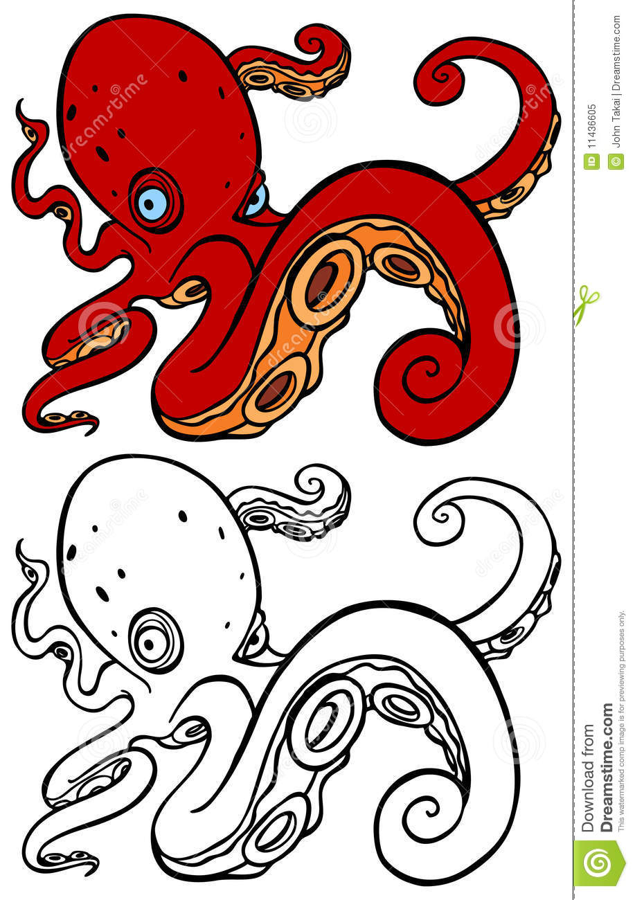 Octopus swimming stock vector  Illustration of white - 11436605