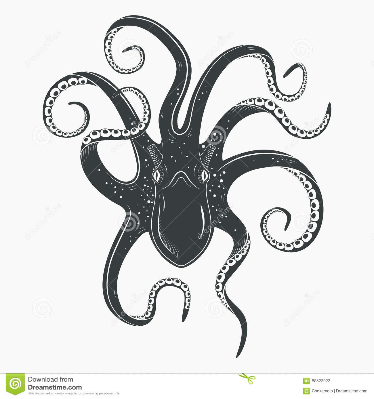 Octopus Tattoo Upside Down Mollusk Or Squid Stock Vector Illustration Of Animal Spineless 88522922