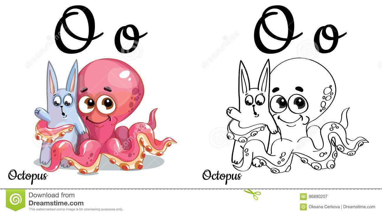 Octopus. Vector Alphabet Letter O, Coloring Page Stock Illustration ...