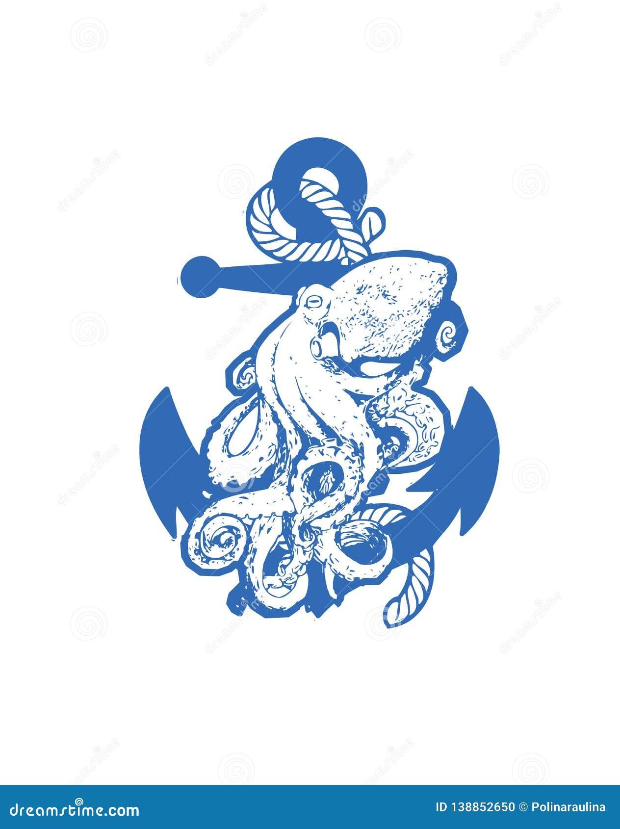 Octopus Vector Illustration. Stock Photo - Illustration of canvas ...