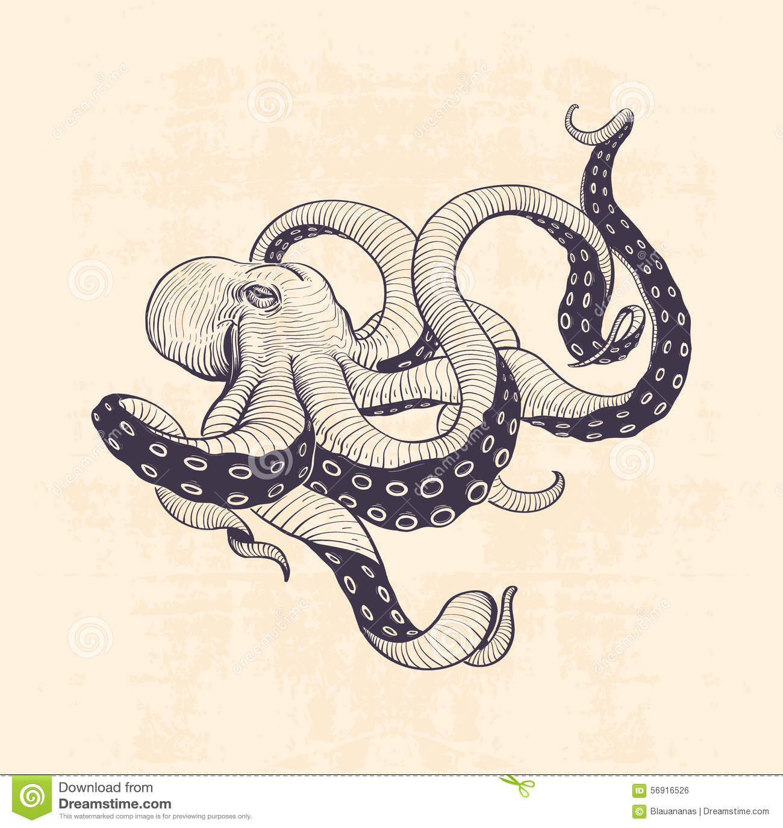 Octopus vintage stock vector. Illustration of illustration ...