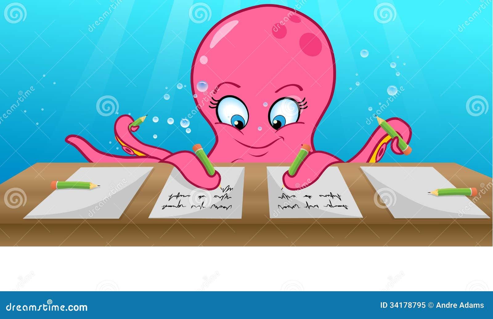 Octopus Writing Royalty Free Stock Photo Image 34178795