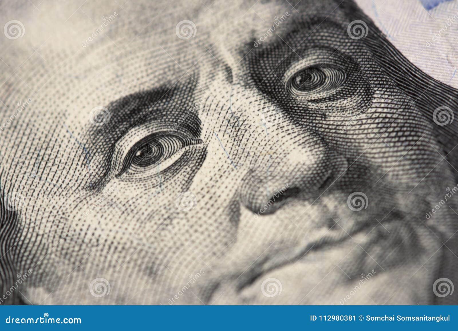 Oczy Nowi 100 amerykanina dolarowy rachunek, 100 samiec, sto USA