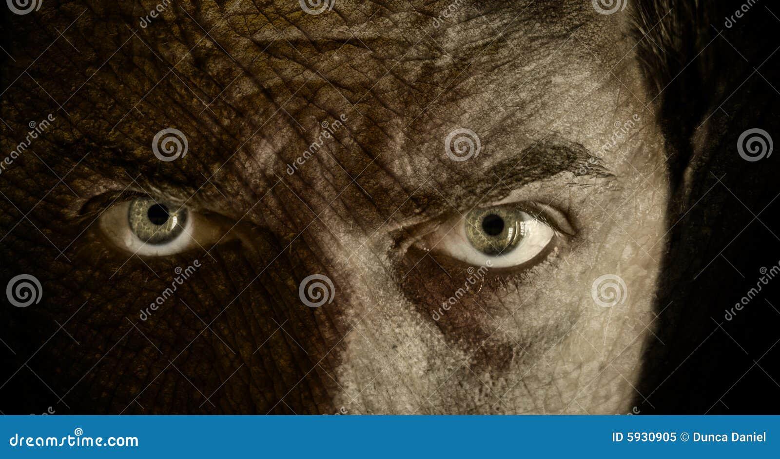 Oczy popękane stoją straszną skórę.