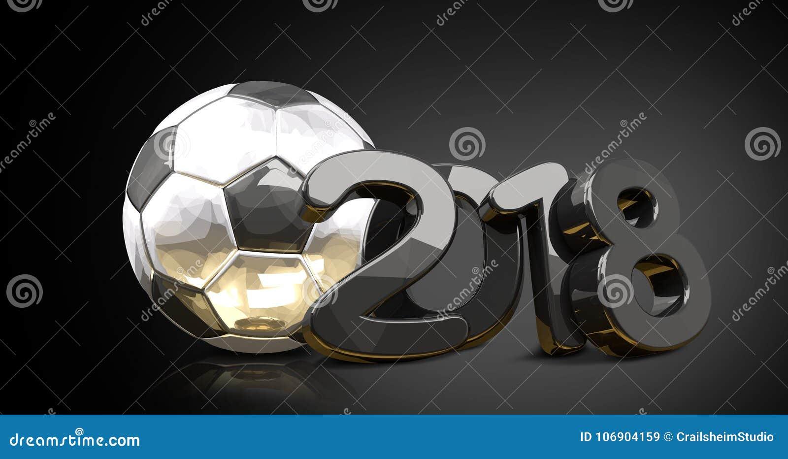 2018 odbicia srebnej złotej piłki nożnej piłki futbolowy przód tryb
