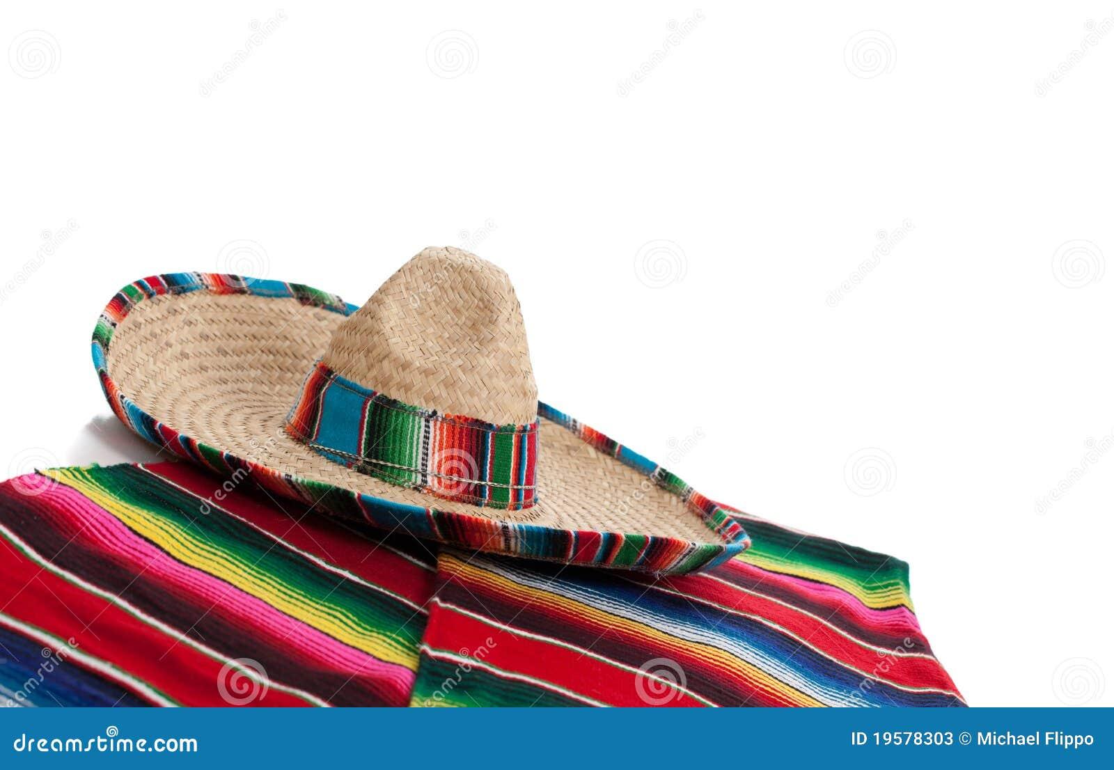 Odbitkowy serape sombrero przestrzeni biel