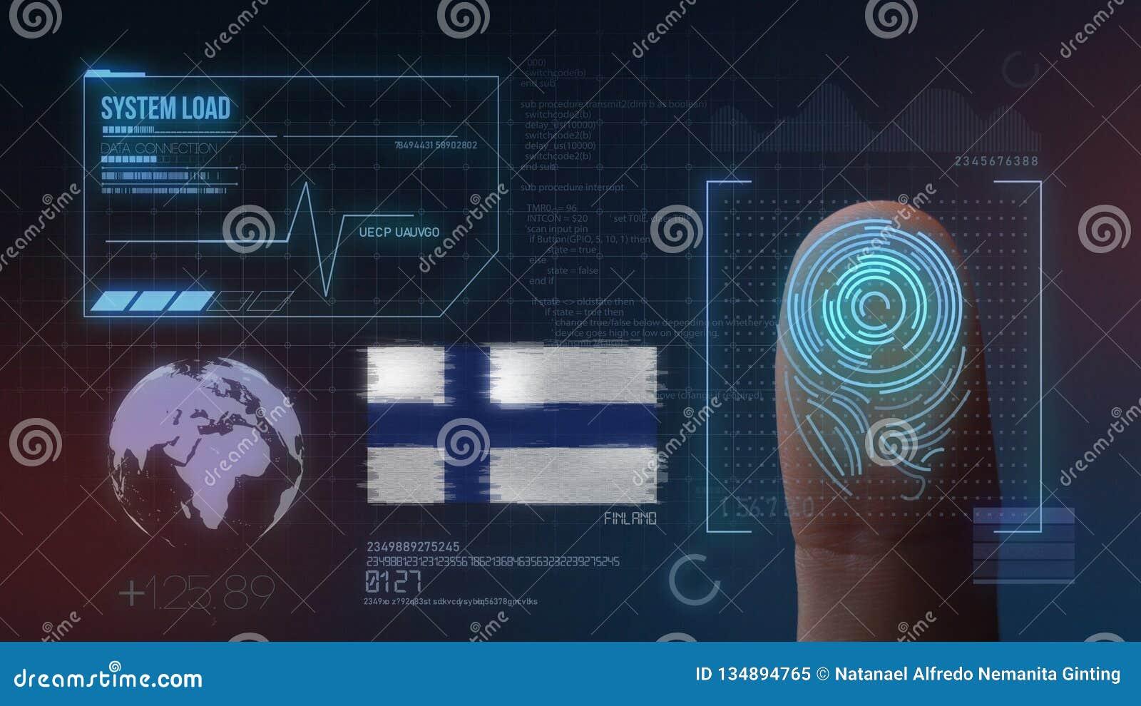Odcisk Palca Biometrycznego skanerowania Tożsamościowy system Finlandia narodowość