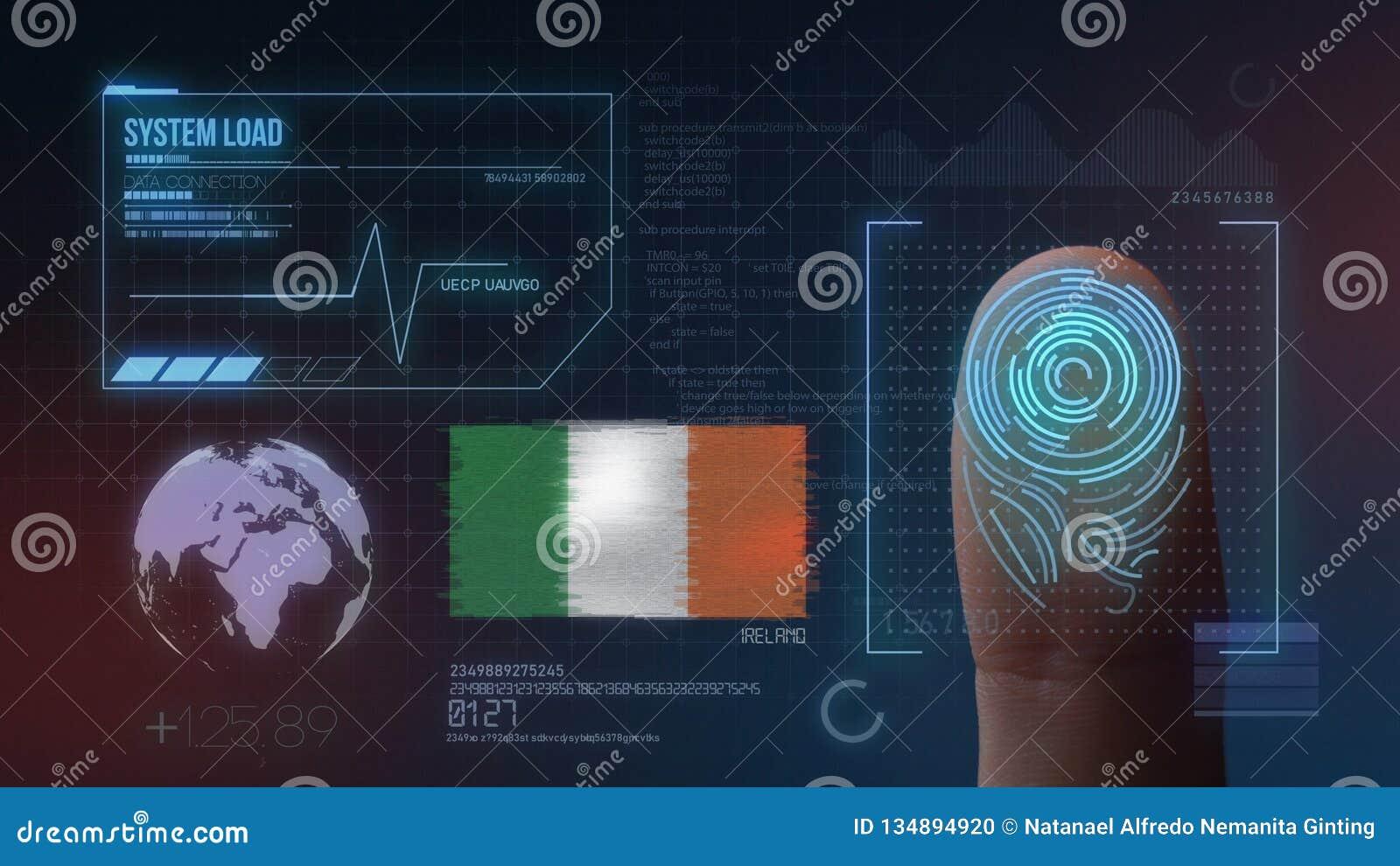 Odcisk Palca Biometrycznego skanerowania Tożsamościowy system Irlandia narodowość