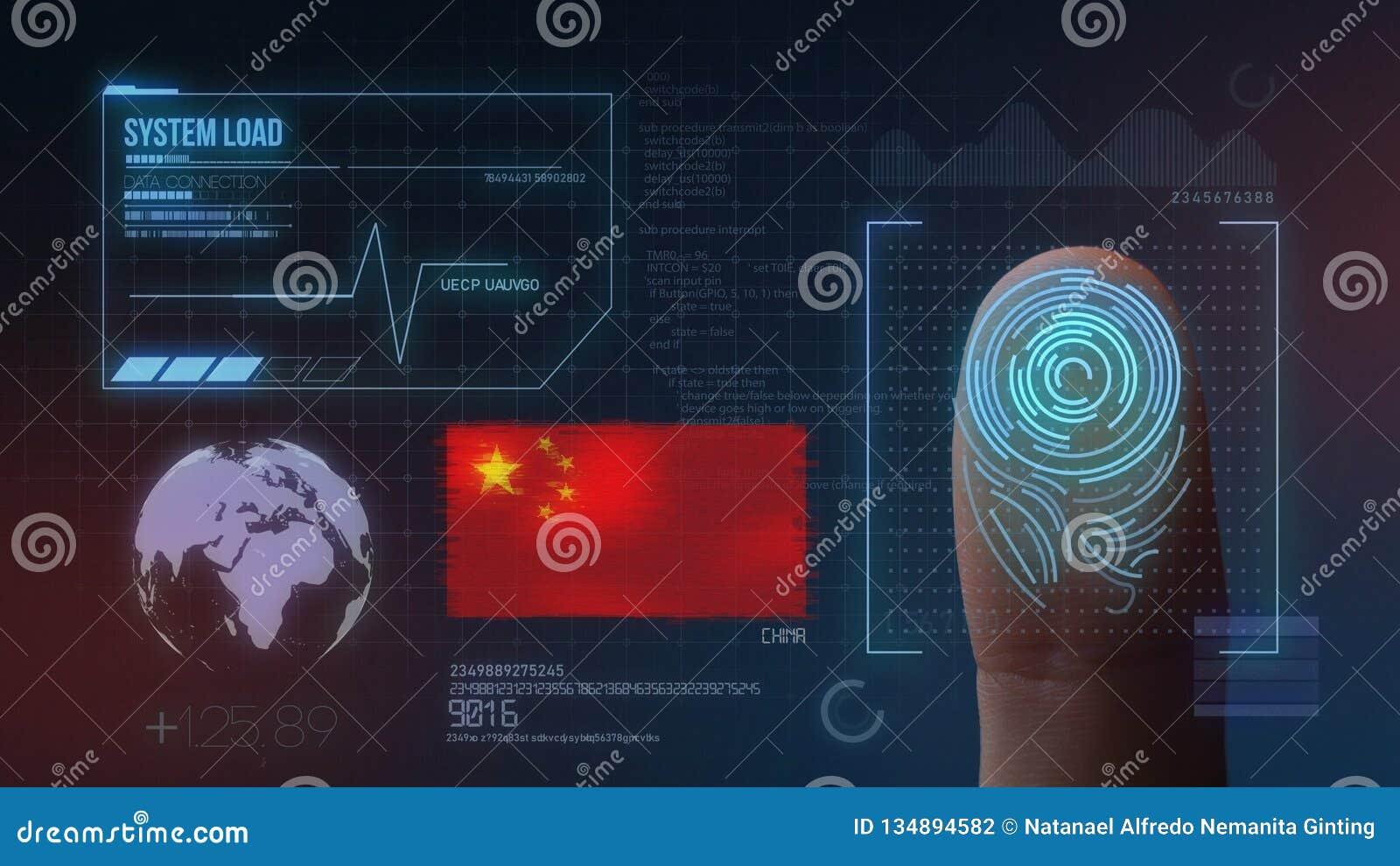 Odcisk Palca Biometrycznego skanerowania Tożsamościowy system Porcelanowa narodowość