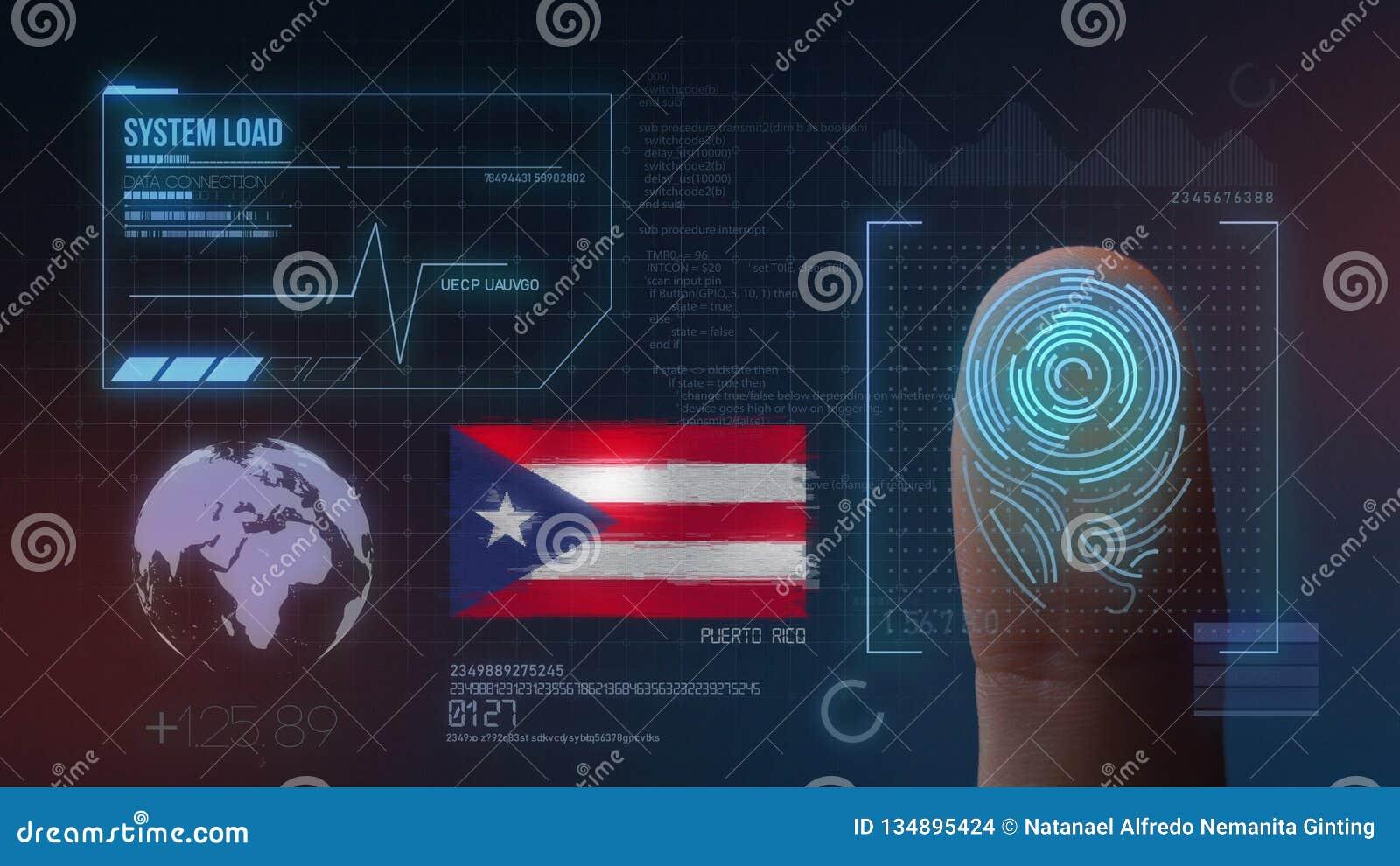Odcisk Palca Biometrycznego skanerowania Tożsamościowy system Puerto Rico narodowość