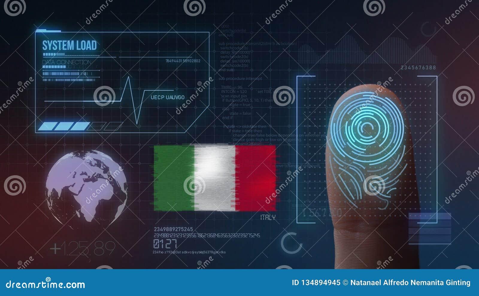 Odcisk Palca Biometrycznego skanerowania Tożsamościowy system Włochy narodowość