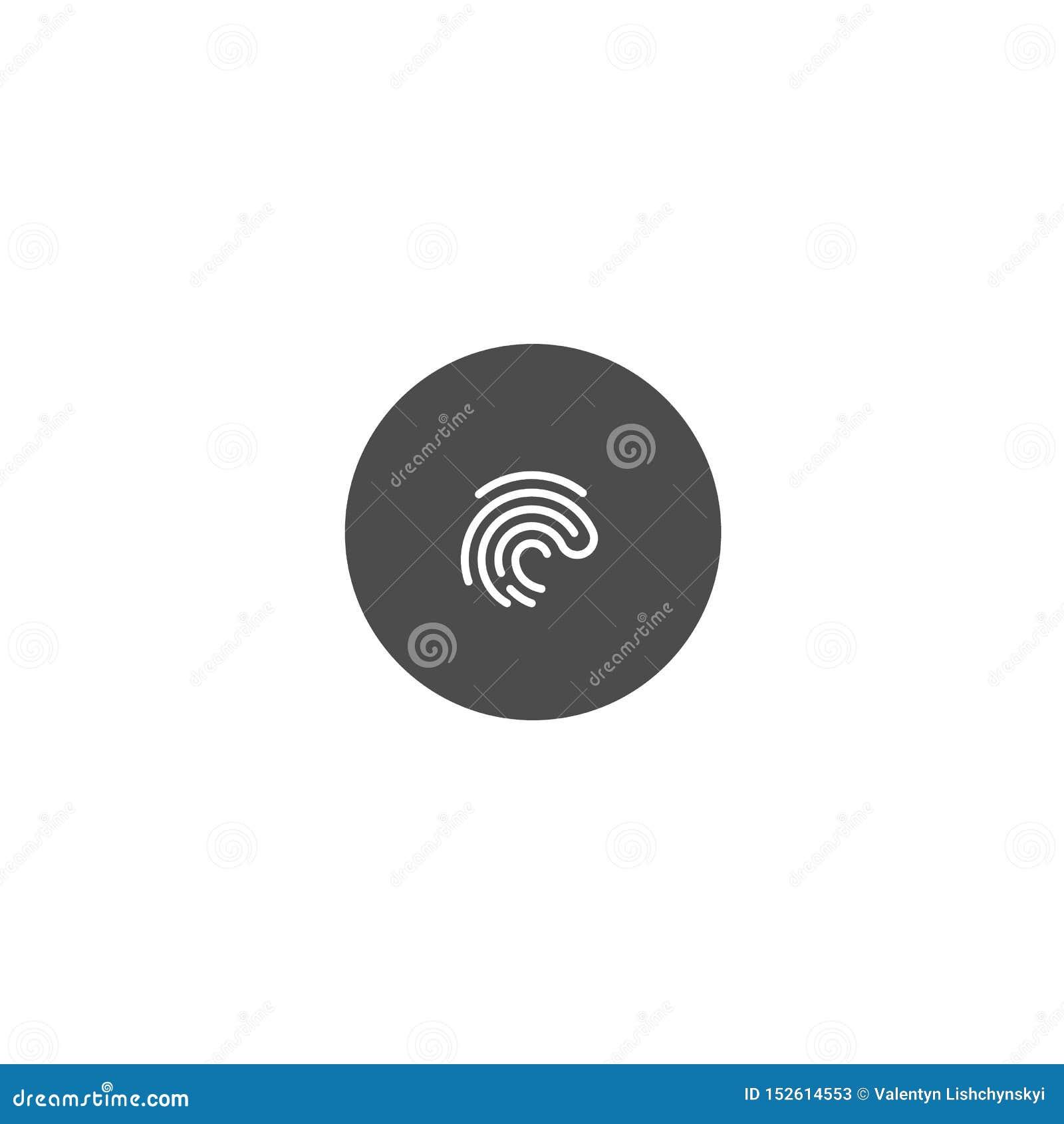 Odcisk palca ikona na ciemnym okręgu tle symbolu wektor