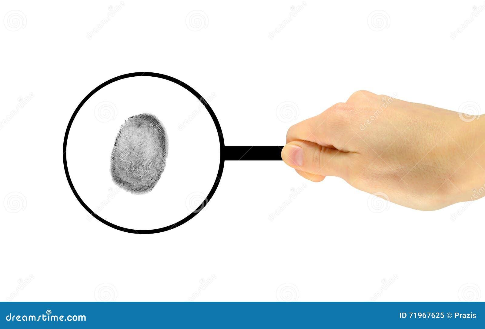 Odcisk palca rozważa pod powiększać - szkło
