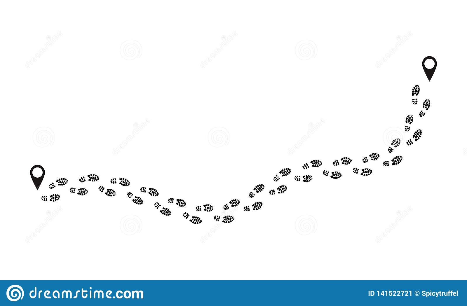 Odcisk stopy trasa Ludzcy druki podążają ślad, śmieszni ludzie butów kroków, czarni kroków znaki odizolowywający na bielu Wektoro