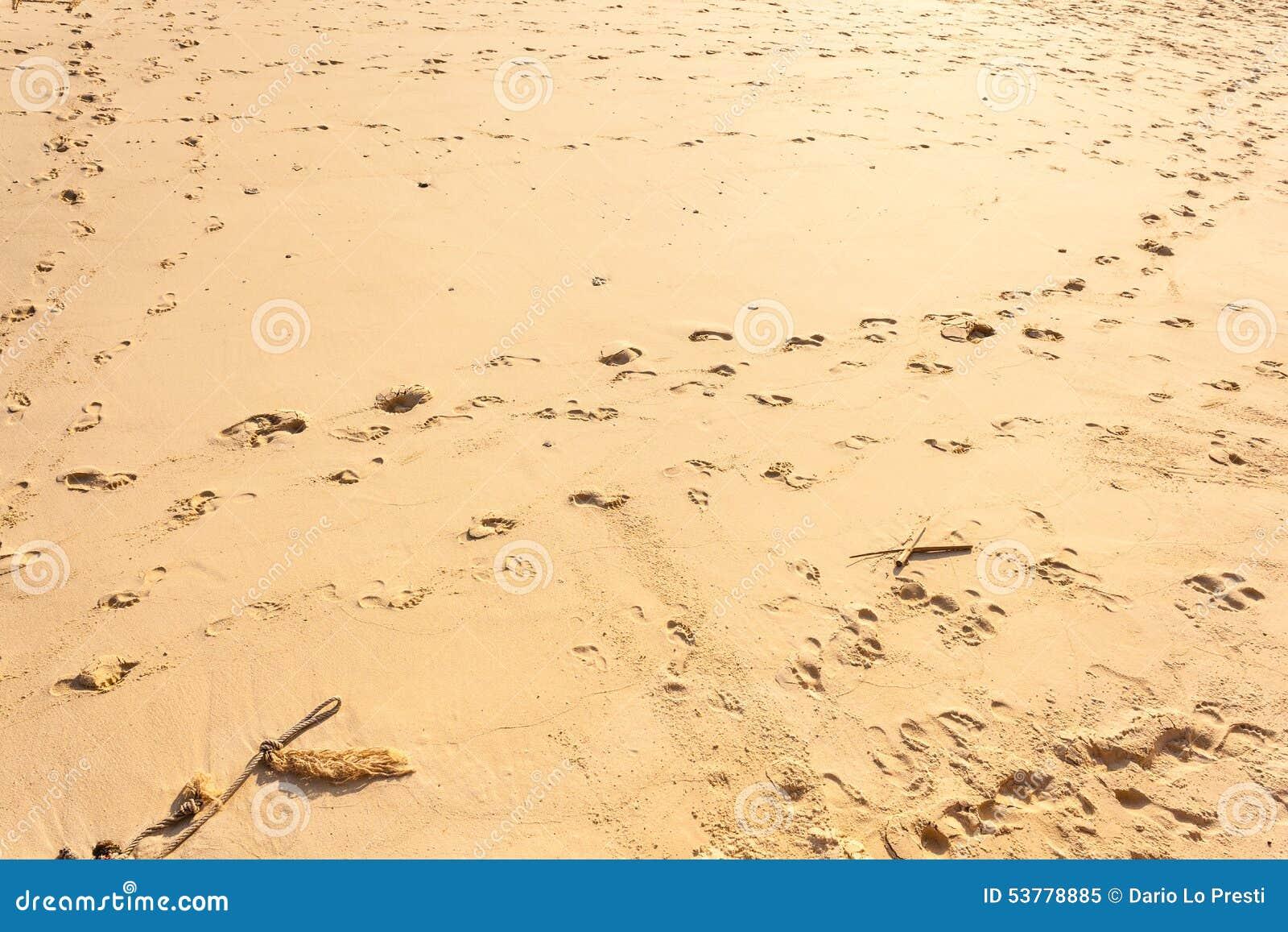 Odciski stopy w piasku