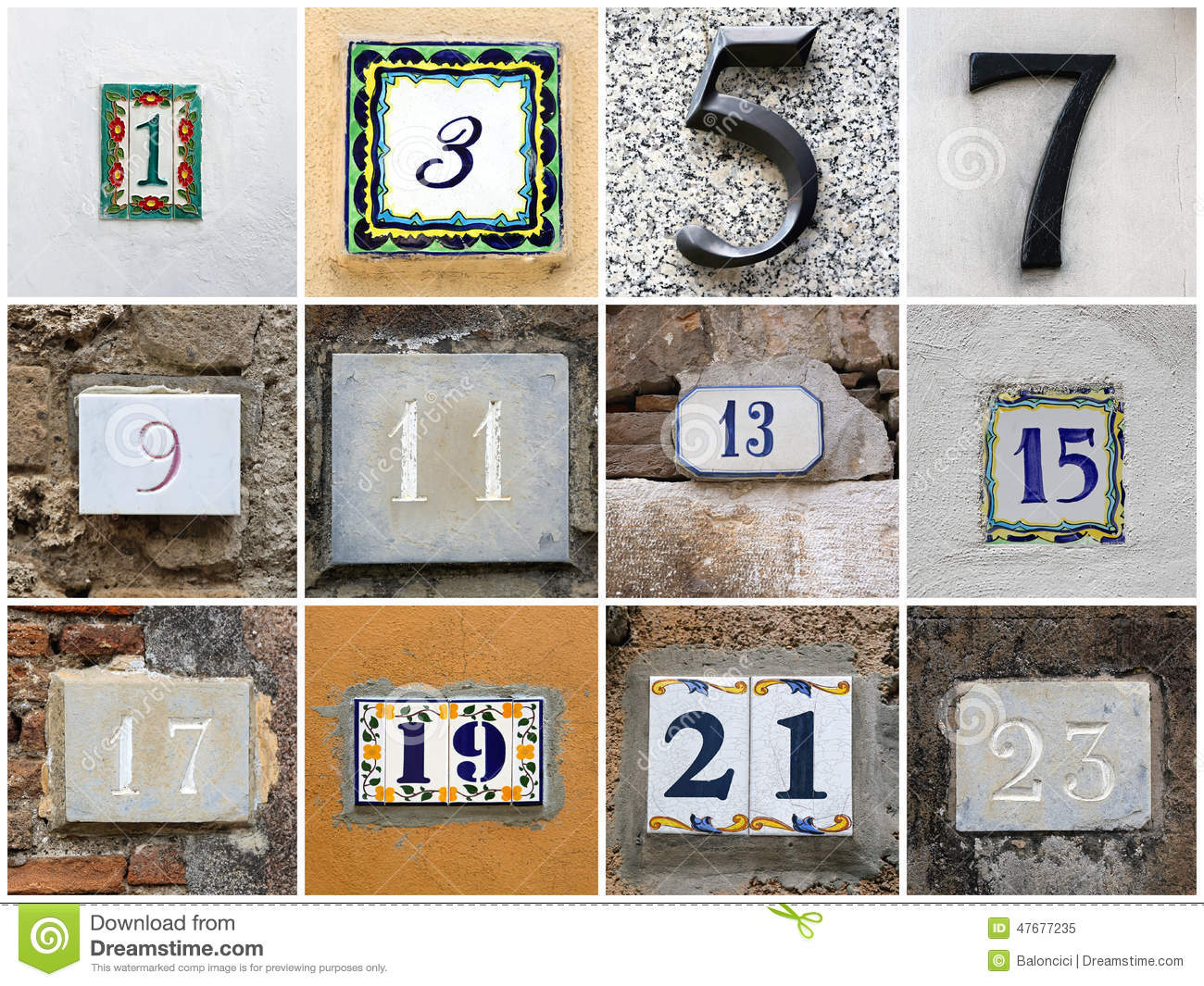 Odd Numbers Stock Photo Image 47677235